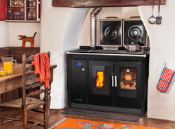 Traditional Smart 120 in black hob covers closed